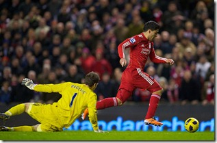 LIVERPOOL, ENGLAND - Wednesday, February 2, 2011: Liverpool's Luis Suarez scores his side's second goal against Stoke City, minutes after coming on as a substitute to make his debut during the Premiership match at Anfield. (Photo by David Rawcliffe/Propaganda)